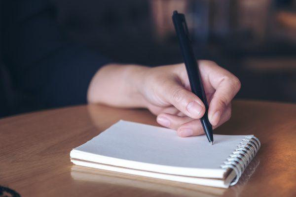 Hand writing on pad